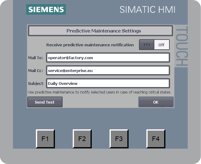 Simatic Basic Panel - Mail Settings