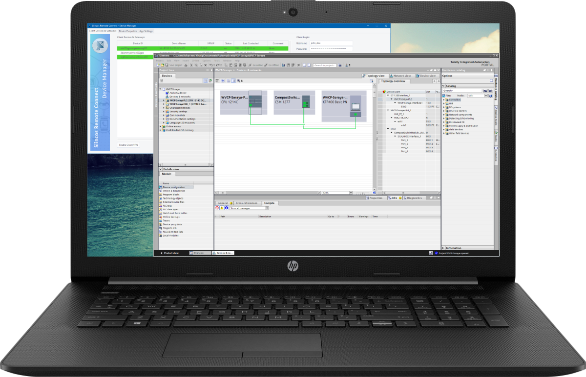 Notebook mit dem Siincos Device Manager und Programmiersoftware